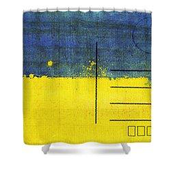 Ukraine Flag Postcard Shower Curtain by Setsiri Silapasuwanchai