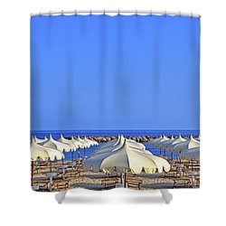 Umbrellas In The Sun Shower Curtain by Joana Kruse