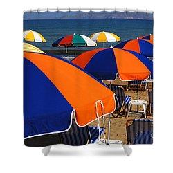 Umbrellas Of Crete Shower Curtain by Bob Christopher