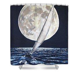 Under Full Sail..under Full Moon Shower Curtain by Jack Skinner