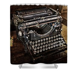 Underwood Typewriter Shower Curtain by Susan Candelario