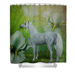 Unicorn And Lilies Shower Curtain by Smilin Eyes  Treasures