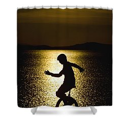 Unicycling Silhouette Shower Curtain by Deddeda