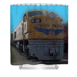 Union Pacific X 18 Train Shower Curtain by Thomas Woolworth