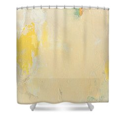 Untitled Abstract - Bisque With Yellow Shower Curtain