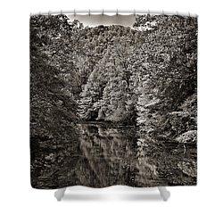 Up The Lazy River Monochrome Shower Curtain by Steve Harrington