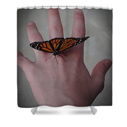 Upon My Hand Shower Curtain by Julia Wilcox