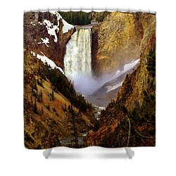 Upper Yellowstone Falls Shower Curtain by Ellen Heaverlo