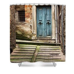 Urbino Door And Stairs Shower Curtain by Sharon Foster