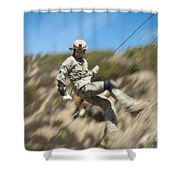 U.s. Air Force Airman Practices Shower Curtain by Stocktrek Images