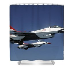 U.s. Air Force F-16 Thunderbirds Shower Curtain by Stocktrek Images