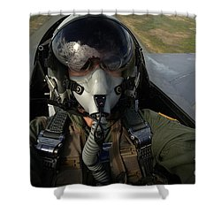 U.s. Air Force Pilot Looking For Nearby Shower Curtain by Stocktrek Images