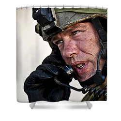U.s. Air Force Sergeant Calls Shower Curtain by Stocktrek Images
