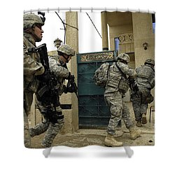 U.s. And Iraqi Army Soldiers Rushing Shower Curtain by Stocktrek Images