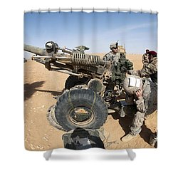 U.s. And Iraqi Artillerymen Train Shower Curtain by Stocktrek Images