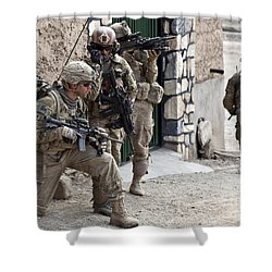U.s. Army Battalion Pulls Security Shower Curtain by Stocktrek Images