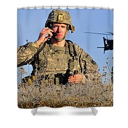 U.s. Army Captain Directs An Ah-64 Shower Curtain by Stocktrek Images