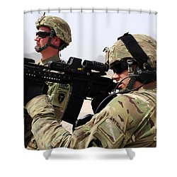 U.s. Army National Guards Pull Security Shower Curtain by Stocktrek Images