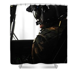 U.s. Army Officer Speaks To A Pilot Shower Curtain by Stocktrek Images
