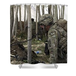 U.s. Army Soldier Communicates Possible Shower Curtain by Stocktrek Images