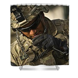 U.s. Army Soldier Communicates Shower Curtain by Stocktrek Images