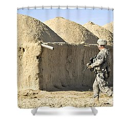 U.s. Army Soldier Conducts A Dismounted Shower Curtain by Stocktrek Images