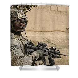U.s. Army Soldier Scans His Area While Shower Curtain by Stocktrek Images