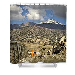 U.s. Army Soldier Walks Down A Path Shower Curtain by Stocktrek Images