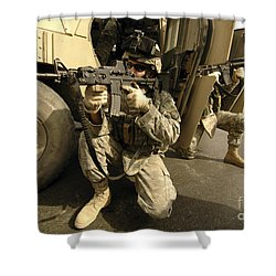 U.s. Army Soldiers Providing Overwatch Shower Curtain by Stocktrek Images