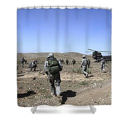 U.s. Army Soldiers Run Back Shower Curtain by Stocktrek Images