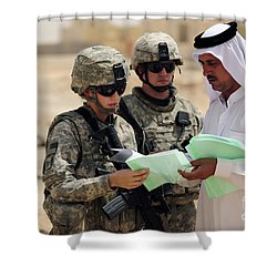 U.s. Army Soldiers Talking With A Town Shower Curtain by Stocktrek Images