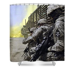 U.s. Army Soldiers Using Smoke Grenades Shower Curtain by Stocktrek Images