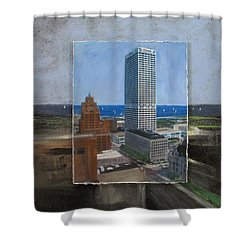 Us Bank Lake Michigan Layered Shower Curtain by Anita Burgermeister