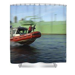 U.s. Coast Guard Officer Mans A M240b Shower Curtain by Stocktrek Images