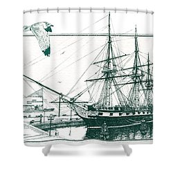 Us Frigate Constellation Shower Curtain by John D Benson