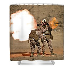 U.s. Marine Fires A Rpg-7 Grenade Shower Curtain by Terry Moore