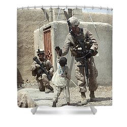 U.s. Marine Gives An Afghan Child Shower Curtain by Stocktrek Images