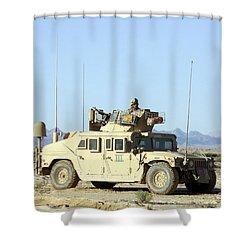 U.s. Marine Standing Ready Shower Curtain by Stocktrek Images