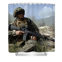 U.s. Marine Takes Part In An Amphibious Shower Curtain by Stocktrek Images