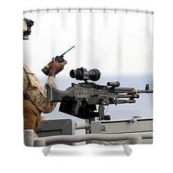 U.s. Marine Talks On A Radio While Shower Curtain by Stocktrek Images