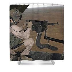 U.s. Marine Test Firing An M240 Heavy Shower Curtain by Stocktrek Images