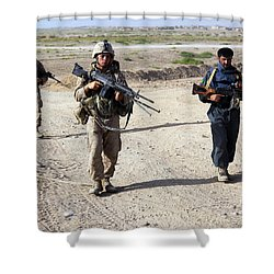 U.s. Marines And Afghan National Police Shower Curtain by Stocktrek Images