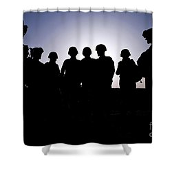 U.s. Marines And Civilian Contractors Shower Curtain by Stocktrek Images