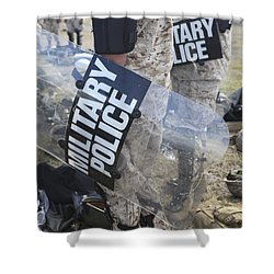 U.s. Marines And Sailors Don Riot Gear Shower Curtain by Stocktrek Images
