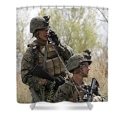 U.s. Marines Communicate Shower Curtain by Stocktrek Images