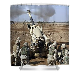 U.s. Marines Engage Enemy Targets Shower Curtain by Stocktrek Images