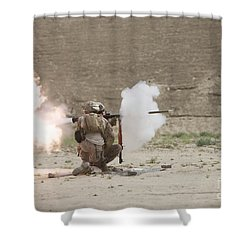 U.s. Marines Fire A Rpg-7 Grenade Shower Curtain by Terry Moore