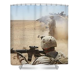 U.s. Marines Fire Several Shower Curtain by Stocktrek Images