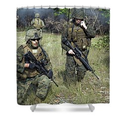 U.s. Marines Secure A Perimeter Shower Curtain by Stocktrek Images