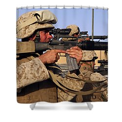 U.s. Marines Sighting Shower Curtain by Stocktrek Images